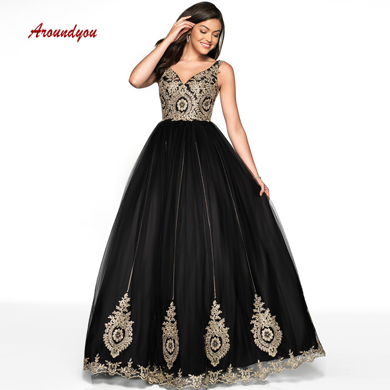 Black Long Lace Prom Dress Plus Size Sexy Party Women Formal Evening Dresses Gowns 2019 vestido de fiesta largo