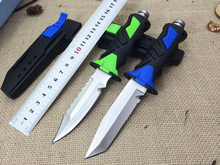 440C Blade Rubber Handle 2 Options Outdoor Diver's Knife Diving Knife Camping Survival Fixed Knives ABS Sheath High Quality