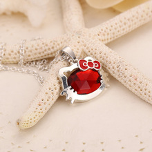 Love Heart Pendant Red Cute Hello Kitty Girl Necklaces Jewelry Gift for Girl Friend Women Ladies