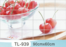 90 cm * 60 cm Cherry Kitchen Wall Stickers Accessories Chef Kitchen Decor Aluminum Foil Wall Tile Stickers(China)