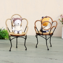 Classic Dog Sitting Chair Cube Craft 3D Chair Stand Figurine Puppy Dogs Miniaturas Natal Birthday Gift Vintage Home Decoration
