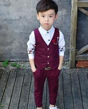 2017 New BrandS pring Boys Vest suit Formal Top Children's Suits for Wedding Groom Children's Wedding red / gray Suits 2pcs(China)