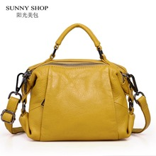 SUNNY SHOP 100% Soft Genuine Leather Women Messenger Bags High Quality Nature Real Leather Shoulder Bags Double Compartments(China)