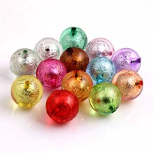 Kwoi Vita Colorful Color Bulk Price Cheap New 20MM Chunky Acrylic Silver Foil Beads 100pcs A lot for Kids Necklace Jewelry(China)