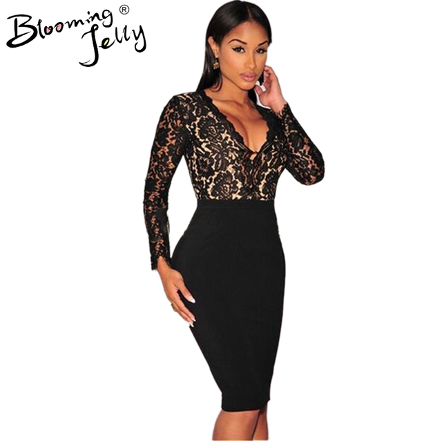 Blooming Jelly Crochet Black Floral Lace Deep V Neck Plunge Patchwork Midi Bodycon 2016 Party Dress