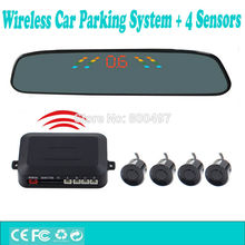 Wireless Car Parking Assistance System with 4 Parking Sensors Rearview Mirror Display Auto Backup Reverse Radar System Alarm Kit