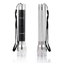 Solar Torch Outdoor Multifunctional Light 7 Led energy saving solar flashlight lanterna light Charged in sunlight Silver(China)