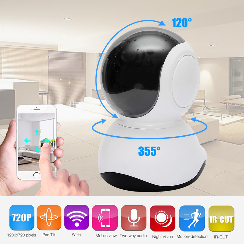 HD 720P Mini Wireless Surveillance P2P Wifi IP Camera with IR Night Vision Home Security 1.0 Megapixel Resolution IP Camera <br>