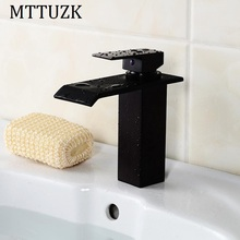 European style cold and hot waterfall tap Black bathroom single handle faucets bath washbasin mixer taps