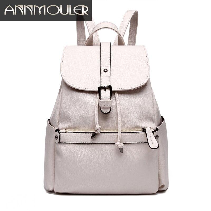 Annmouler Brand Women Backpack Pu Leather Backpacks for Teenager High Quality Shoulder School Bag Student Solid Color Rucksack <br><br>Aliexpress