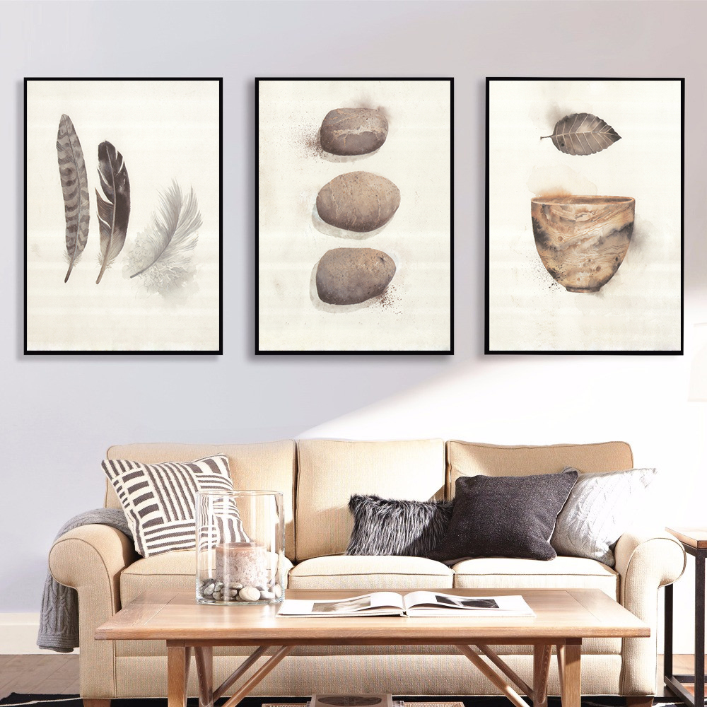 Nordic-Minimalist-Canvas-Painting-Feather-Stone-Posters-and-Prints-Pop-Art-Wall-Pictures-for-Living-Room
