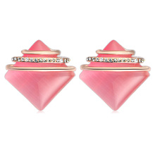 New Exquisite cute stud earrings Pink/white big opal square micro inlays Rhinestone earrings for women charm jewelry