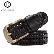 Hot New Belt women Fashion Mens Belts Braided Genuine Leather Straps Men Jeans Wide Girdle Male High Quality Casual Belt BZ004(China)