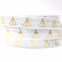 "Good Sale 5/8"" Teepee Print White Fold Over Elastic Gold Foil FOE for Hair Tie Bracelet DIY Headwear Hair Accessory 10 yards/lot(China)"