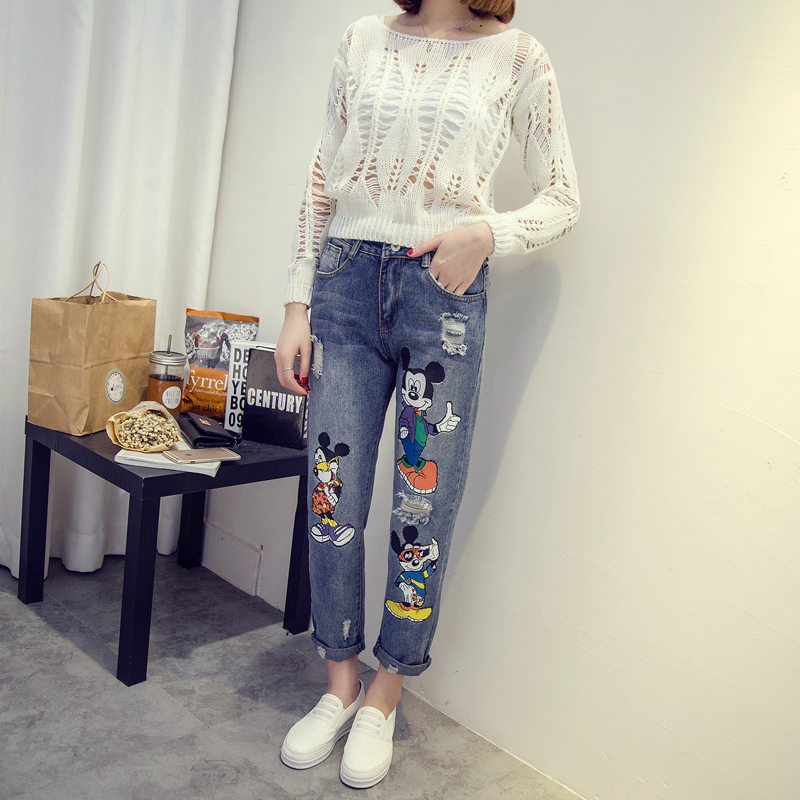 2017 Ripped Jeans Women Autumn Winter Fashion Cute Cartoon Mickey Printed High Waist Loose Casual Harem Pants TC014Одежда и ак�е��уары<br><br><br>Aliexpress