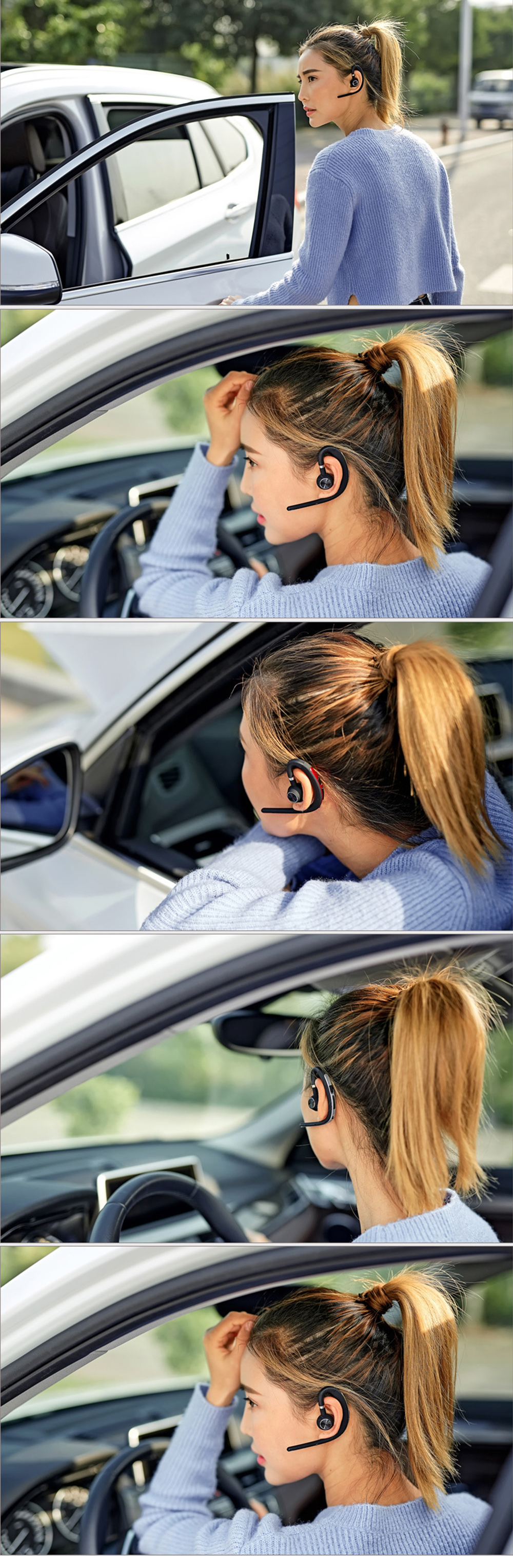 Lymoc Upgrade Y3+ Bluetooth Earphone Handsfree Ear Hook Wireless Headsets V4.1 Noise Cancelling HD Mic Music For iPhone Huawei 14