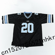 Retro star 20# Barry Sanders Embroidered Name&Number Throwback Football Jersey Black(China)