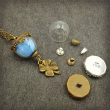 5sets/lot 15mm glass dome setting base beads cap set glass vial pendant jewelry glass globe bottle necklace pendant(China)