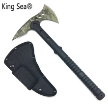 King Sea Camouflage Hunting Camp Survival Tactical Tomahawk Machete Axe Fire Axe Hatchet With Fiberglass Handle(China)