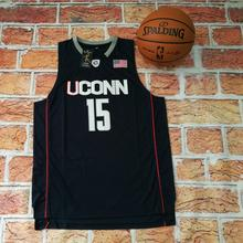 New NO.15 Kemba Walker University of Connecticut Road Deep Blue Basketball Jersey Embroidery Logos For Sale