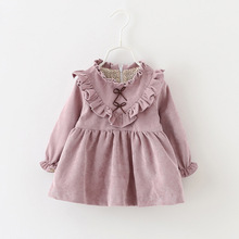 2016 New Girls Dress Spring Autumn Children's thick clothing cute floral long sleeve Corduroy dresses pink/lavender