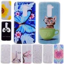 Coque For LG G2 G 2 D800 D802 Silicon Case Cover Soft TPU Back Shell Cell Phone Cases Cute Cat Black Face Henna Flower Tower