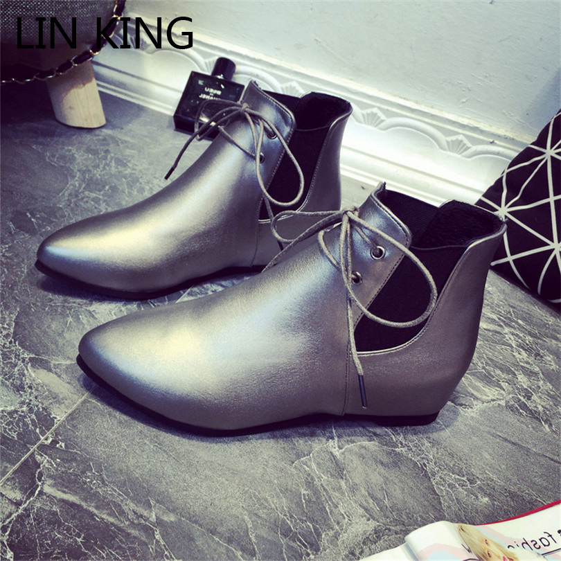 LIN KING Fashion Pointed Toe Martin Boots Black Artificial Leather Lace Up Single Boots Women Low Heels Mature Office Shoes<br><br>Aliexpress