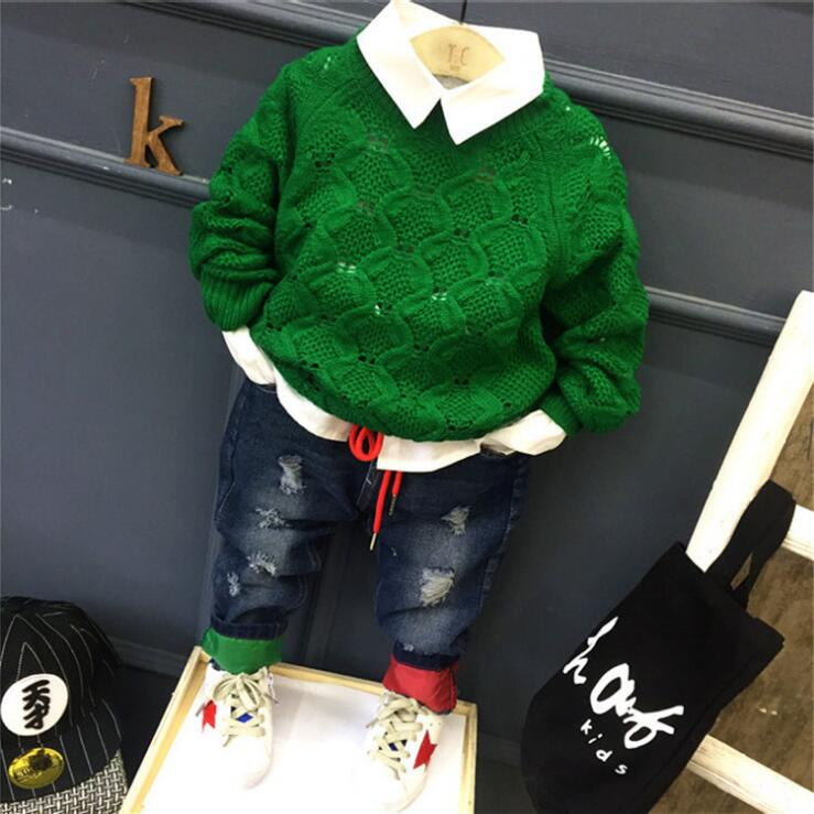 3pcs boys autumn spring green sweater white shirt and fashion holes jean set kids casual all match clothes children boy 2-7 year<br>