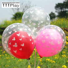 10PCS 12 Inch Mickey Mouse Transparent Latex Balloons Inflatable Air Balls Happy Birthday Party Balloons Children's Toy Balloons