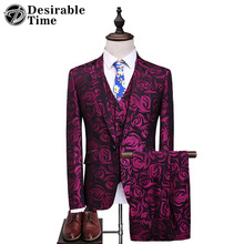 Desirable Time Mens Slim Fit Floral Suits with Pants Wedding Groom S-5XL Party Stage Clothing 3 Piece Suit Men DT110(China)
