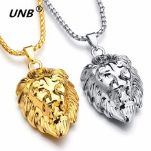 UNB 2017 Hip Hop Lion Head Pendant Necklace For Men Luxury Gold Silver Plated Long Necklaces Jewelry Friendship Gifts Wholesale(China)