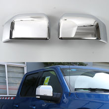 Car Rearview Rear View Mirror Cover Trim Sticker Chromium ABS Styling Anti-collision Accessories For Ford F150 F-150 2015 2016(China)