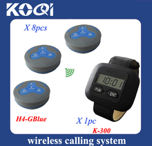 Hotel waiter paging system one watch pager with 8pcs waterproof table call bell service equipment