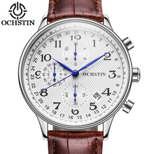 OCHSTIN Top Brand Luxury Chronograph Sport Clock Men's Watch Men Casual Sport Quartz Wrist Watches Military Leather Clocks 050C