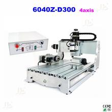 6040Z-D300 4axis CNC engraving machine 3D cnc router with rotary axis, can do 3D and no tax ship to russia!
