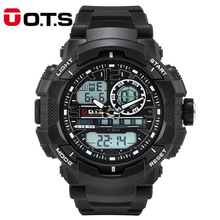 O.T.S relogio masculino digital Mens sports Watches Quartz OTS brand 50m Outdoor Waterproof Multifunction LED Military Watch(China)