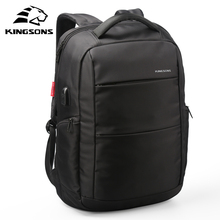 Kingsons Function Laptop Backpack Whit USB Cable Wear-resistant Man Business Dayback Women Travel Bag 15.6 inches School Bag(China)