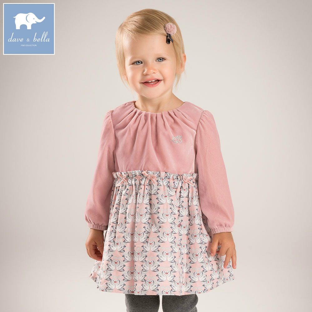 DB5603 dave bella baby girl lolita dress stylish swan printed dress toddler children dress high quality clothes<br>