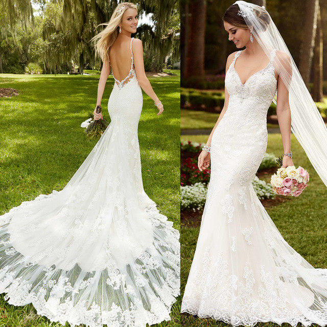 2019 New Design Lace Appliques Beach Mermaid Wedding Dresses White Sexy Backless Bridal Gowns V Neck Strap Vestido De Noiva