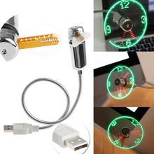 USB Led Gadget Flexible 40CM USB Powered Cooling LED Flashing Time Display Function Clock Fan