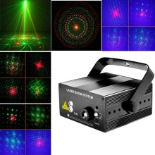 DJ light RG 16 Patterns Club Red Green Laser BLUE LED Stage Lighting Home Party Professional Projector illumination Disco lights