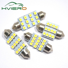 2Pcs 31mm 36mm 39mm 41mm DC 12V C5W 1210 3528 White 12Smd Festoon Dome LED Interior Car Panel Reading License Lamp Wedge bulbs