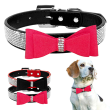 Bow Tie Rhinestones Dog Collar Sparkly Crystal Diamonds Studded Suede and Padded Wide Bling Collars for Medium and Large Dogs(China)