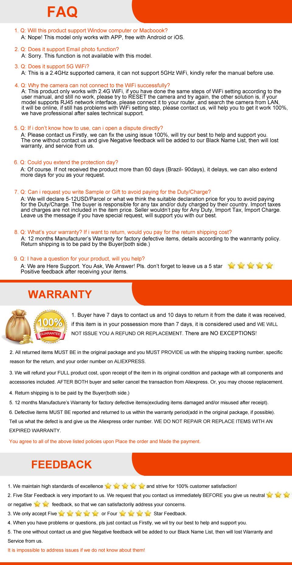 YOOSEE V380 BATTERY-FAQ WAR FEEDBACK