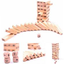 2018 New Pine Jenga boxed 54 tablets to send 4 dice Dumpling blocks Dominoes Small digital layer stacking(China)
