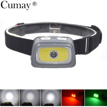 Mini Headlamp 3000 Lumens R5 LED Waterproof AAA Headlight Red Green White Head Lamp Light Flashlight Torch with Warning lights