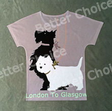 Track Ship+Vintage Retro Cool Rock&Roll Punk T-shirt Top Tee Black and White Dog Stand and Walk Scottie and Terrier 0261
