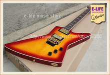 Custom Shop Explorer Guitar Tiger Flame Cherry Sunburst Color Floyd Tremolo Chinese Musical Instruments(China)