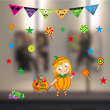 window waterproof wall stickers Cartoon Halloween Static Electricity Removable Wall Stickers living room kids rooms wallpaper