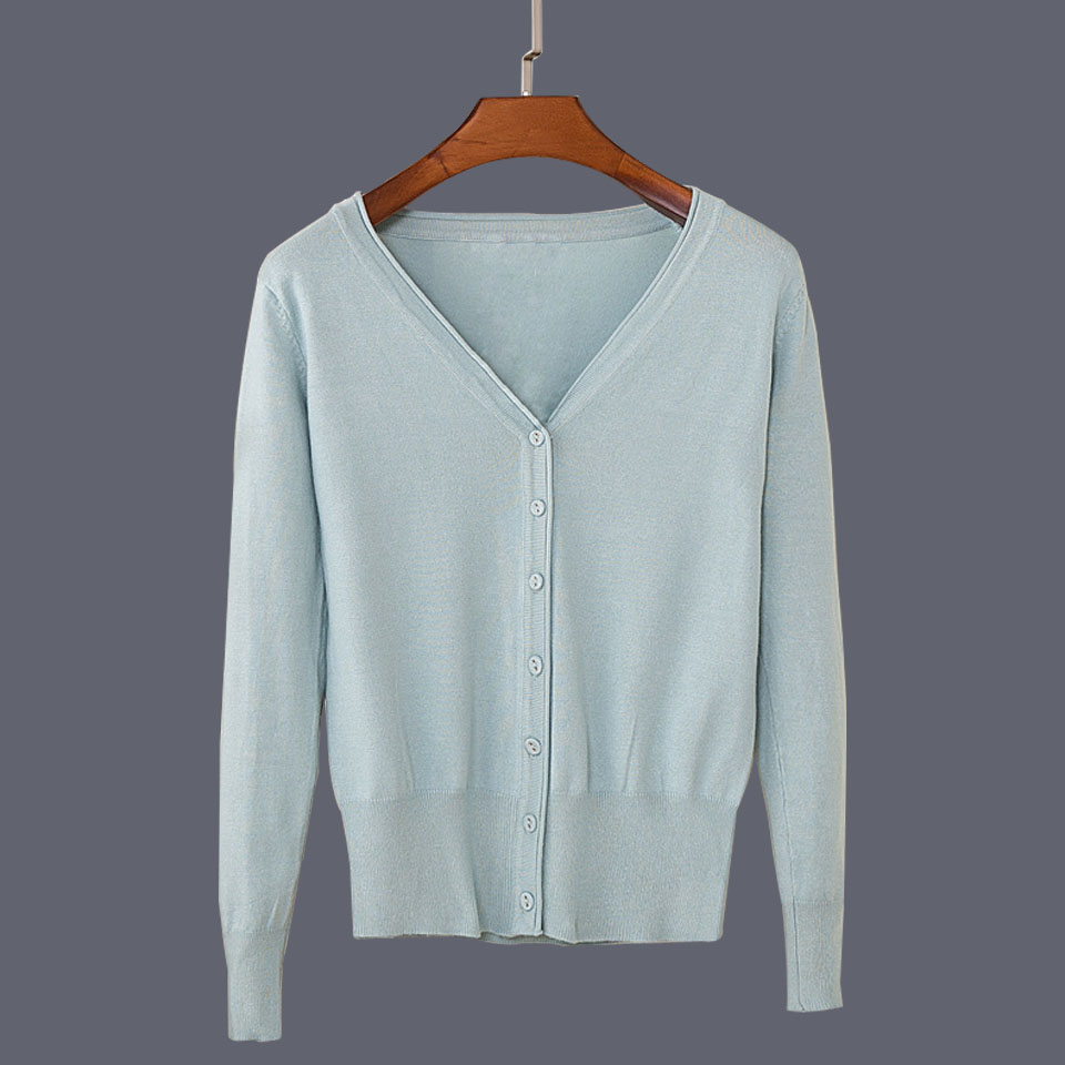 17 New Top Selling Spring Woman Sweater Tops Fashion Knitted Long Sleeve V-Neck Solid Loose Size Casual Woman Cardigan Sweater 32